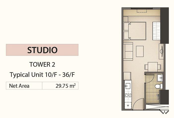 SRB50 Mandani Bay Studio Unit Floor Plan - Cebu Grand Realty