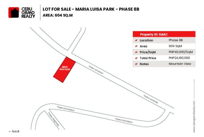 SLML1 604 SqM Lot for Sale in Maria Luisa Park Phase 9 - Cebu Grand Realty