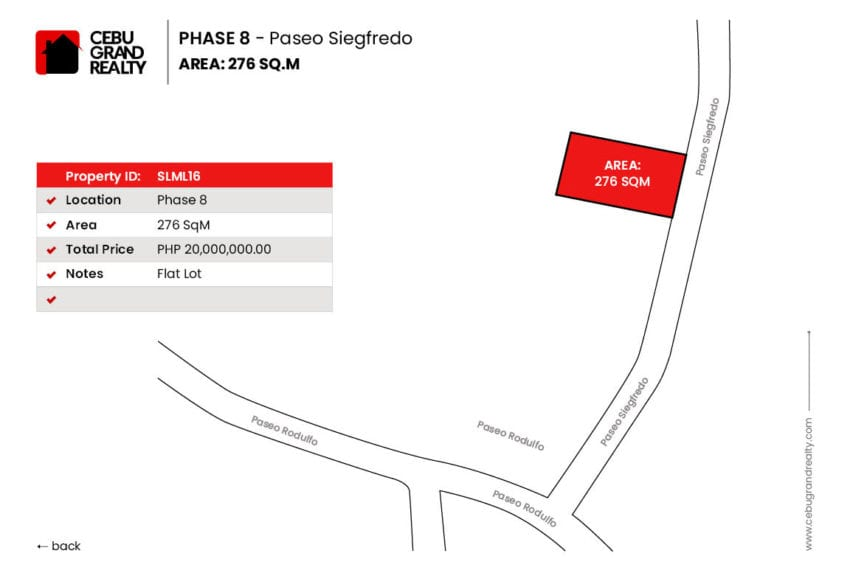 SLML16 276 SqM Lot for Sale in Maria Luisa Park Cebu Grand Realty