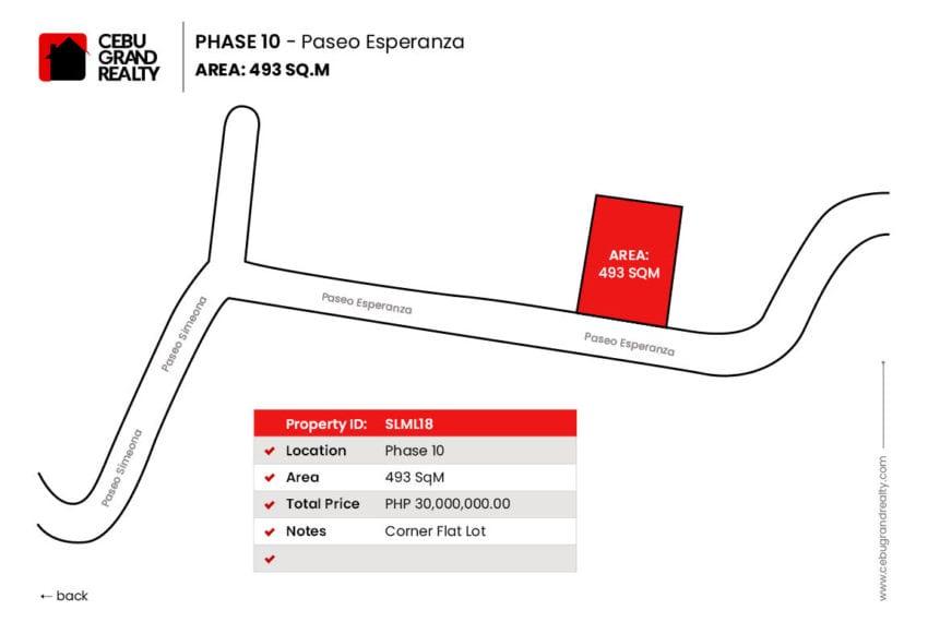 SLML18 493 SqM Lot for Sale in Maria Luisa Park Cebu Grand Realty